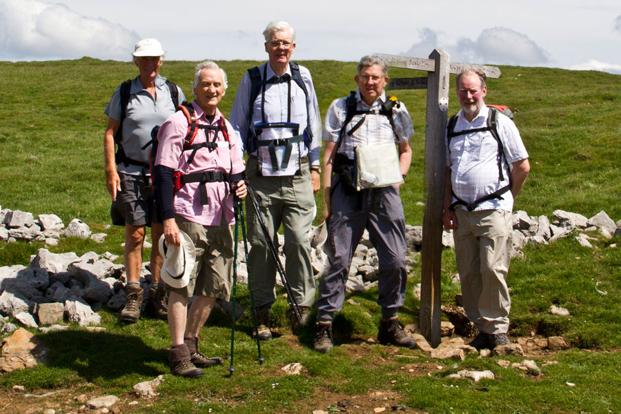 With Cliff, Alan, Edward and Dave on Busk Lane, above Stalling Busk, Wensleydale, - June 2013